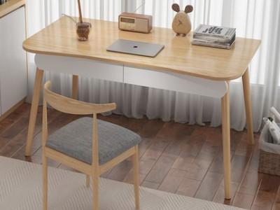 电脑台式桌实木腿书桌书架一体桌简